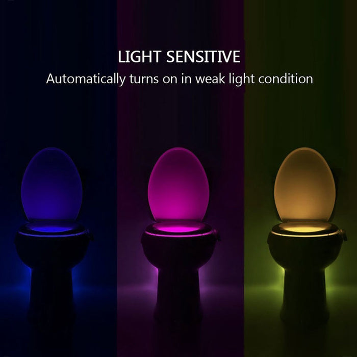 Rechargeable Toilet Light Waterproof Toilet Night Light 8-Color, Motion Activated in Darkness Only