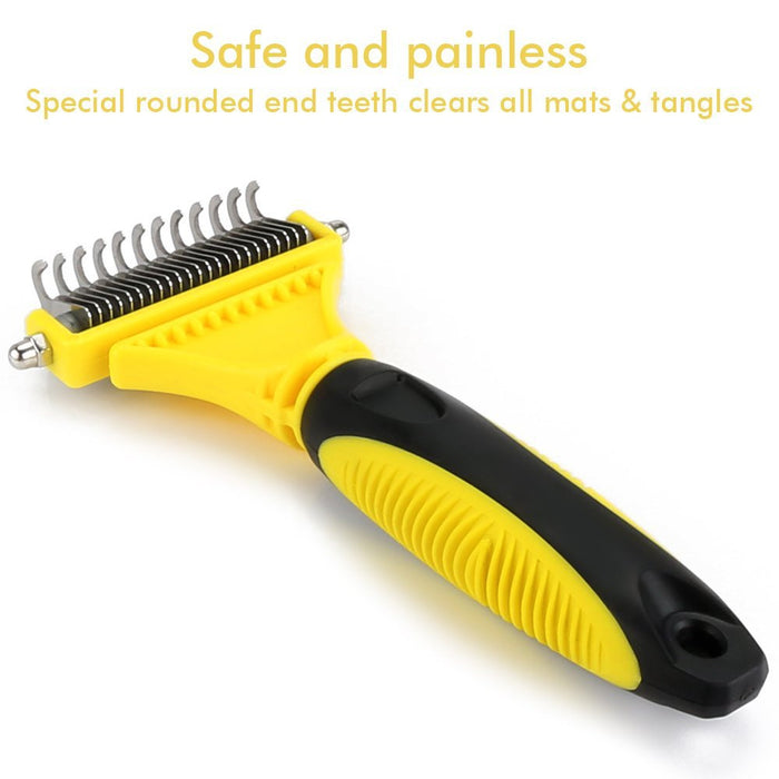 Pet Dematting Comb,Grooming Brush Tool for Dogs and Cats,2 Sided Steel Rake Brush for Small Medium and Large Breeds with Medium and Long Hair,Removes Undercoat Mats Tangles