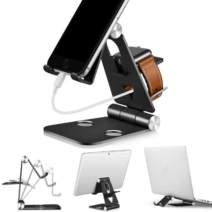 3 in 1 Phone Stand | Foldable Cell Phone Stands | for Apple Watch Stand | Portable Phone Holder Stand | Desktop Charging Dock | Cradle/Mount for iWatch iPhoneX, 8 7 6s Plus 5s c, Android