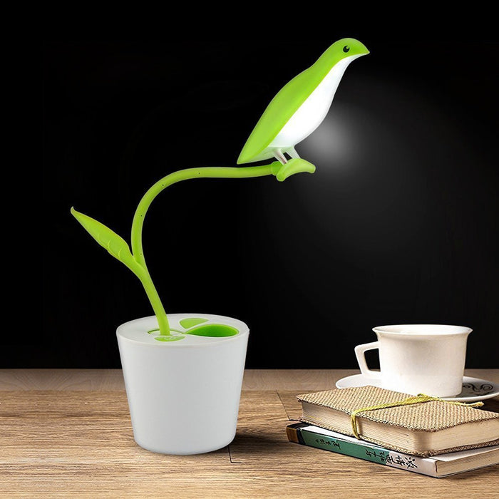 Dimmable Touch Sensor Plant Desk Lamp USB Rechargeable LED Night Light Reading Light with 360 Degree Rotation Flexible Neck and Pen Holder for Kids Adult