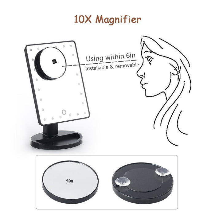 Lighted Makeup Mirror, 24 LED Touch Screen Vanity Mirror with 10x Magnification ,USB Cable and Battery Dual Power Source