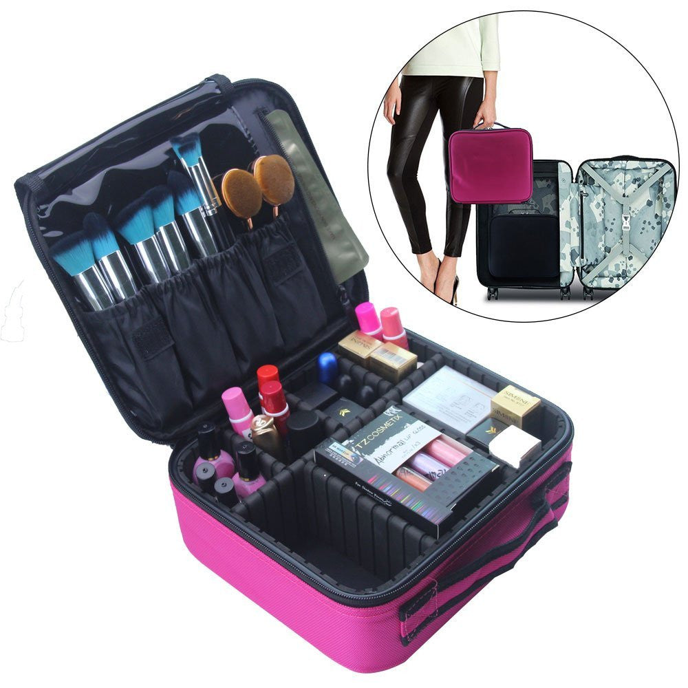 Travel Makeup Train Case Makeup Cosmetic Case Organizer Portable Artist Storage Bag 10.3'' with Adjustable Dividers for Cosmetics Makeup Brushes Toiletry Jewelry Digital accessories