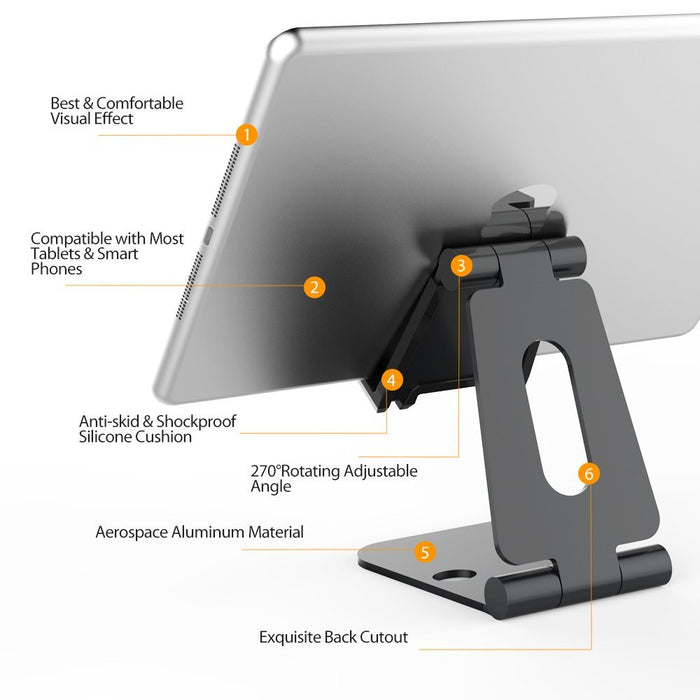 Multi- Angle Universal Stand,Foldable Adjustable Aluminum Phone/Tablet Stand Holder for iPhone 6/6S/7 Plus, iPad, Galaxy S7 S6, Note 6 5, LG, Sony, iPad Pro, iPad Air,E-readers,Kindle