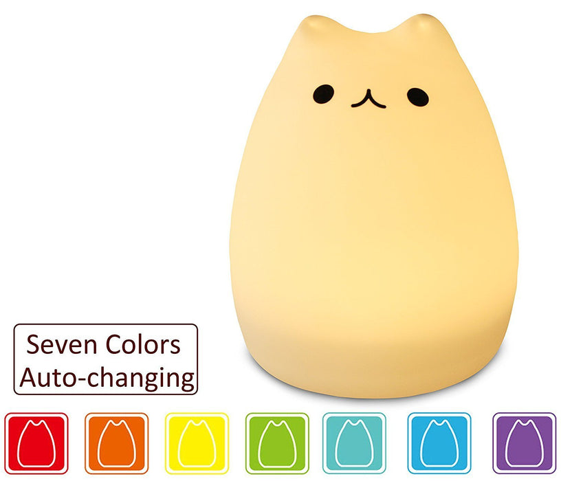 night light - 3-Modes Portable Silicone LED Night Lamp - 8 single colors mode and 8-color breathing light mode - adorable animals' appearance - USB charging - best nightlight for children.