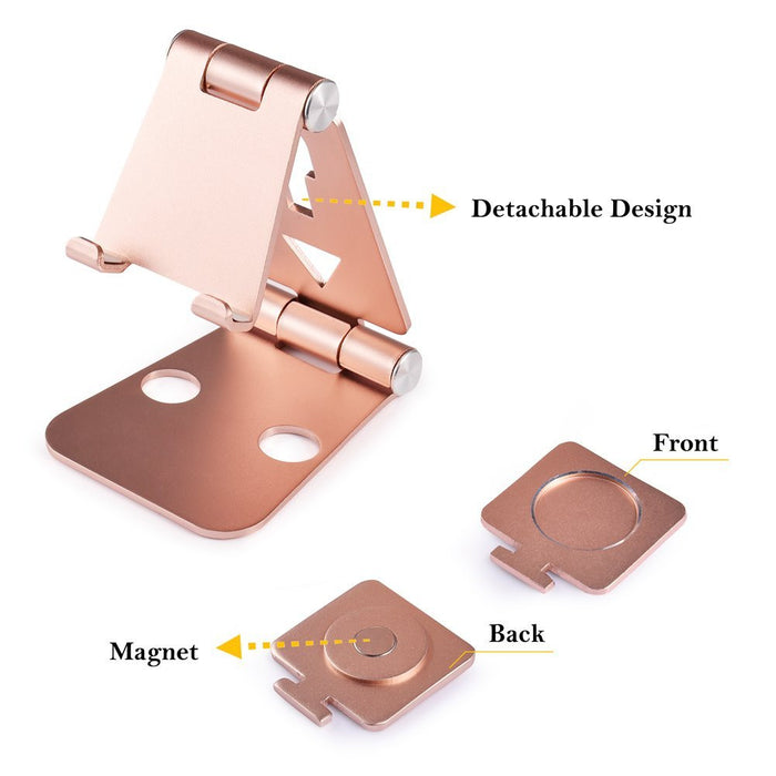 Foldable Smart Phone Stand Multi-angle Adjustable Android Smartphone Devices Tablet Stand Tablet Holder for Android and Apple Smartphone, iWatch Charging, Rose Gold