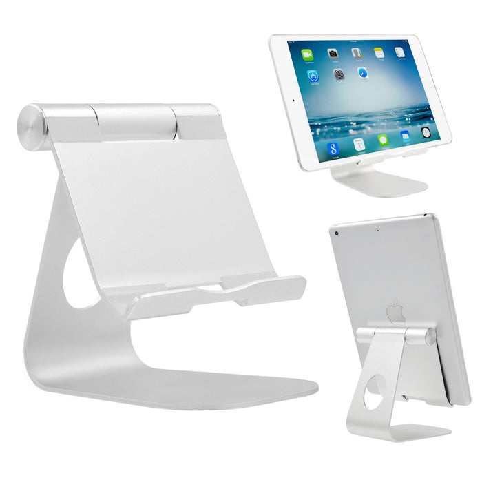iPad Stand Adjustable Aluminum Tablet Stand, Desktop Stand Holder Dock for iPad Pro 9.7, 10.5, 12.9, Air 2 3 4 mini, Kindle, Nexus, Accessories, Tab, E-reader Other Android Tablets (4-13 inch) Silver