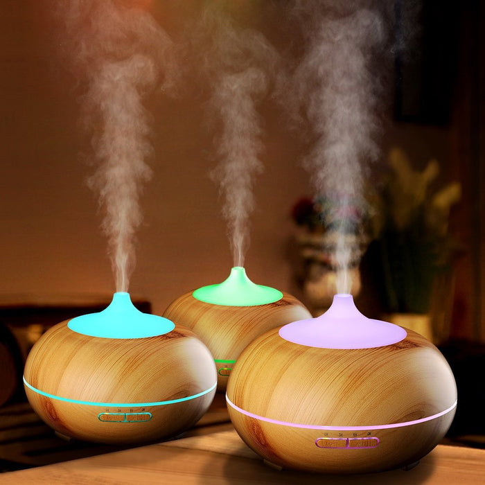 300ml Aroma Essential Oil Diffuser, Wood Grain Ultrasonic Cool Mist Humidifier for Office Home Bedroom Living Room Study Yoga Spa