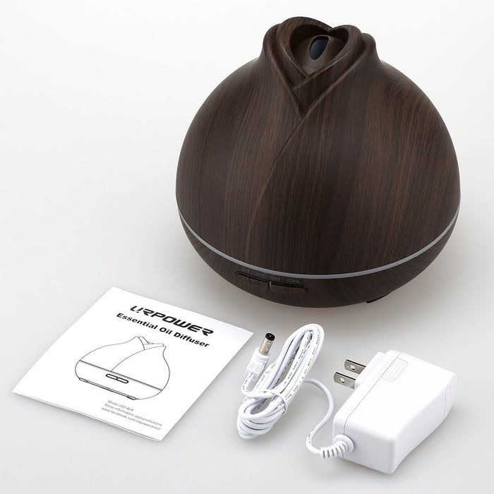 400ml Wood Grain Essential Oil Diffuser, Running 10+ Hours Aromatherapy Diffuser for Essential Oils with 2 Mist Modes, 4 Timer Setting, Whisper Quiet Humidifiers for Bedroom, Home, Office