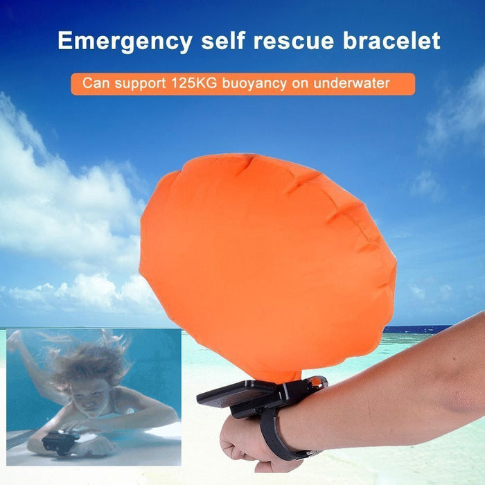 Wearable Portable Rescue Device Float Wristband Lightweight Water Buoyancy Aid Device for Adult Kids&New Swimmers Drowning with Inflatable Gasbag Swimming Safety Device