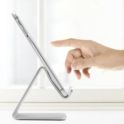 Cell Phone Stand Multi-Angle Aluminum iPad Stand, Advanced non-slip Desktop Kickstand Holder Universal for iPhone, iPad, Samsung HTC Nokia Smartphones, Tablet, Silver