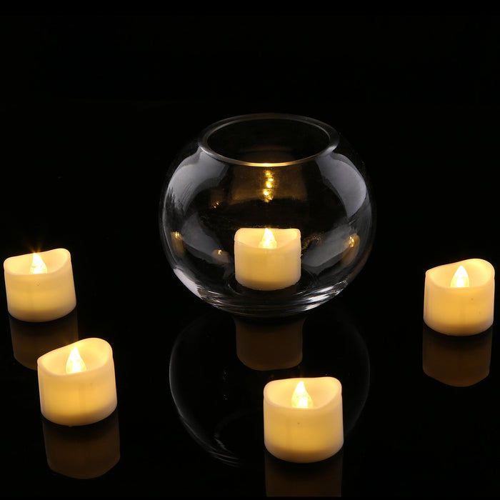 Realistic and Bright Flickering Bulb Battery Operated Flameless LED Tea Light for Seasonal & Festival Celebration, Pack of 12, Electric Fake Candle in Warm White and Wave Open