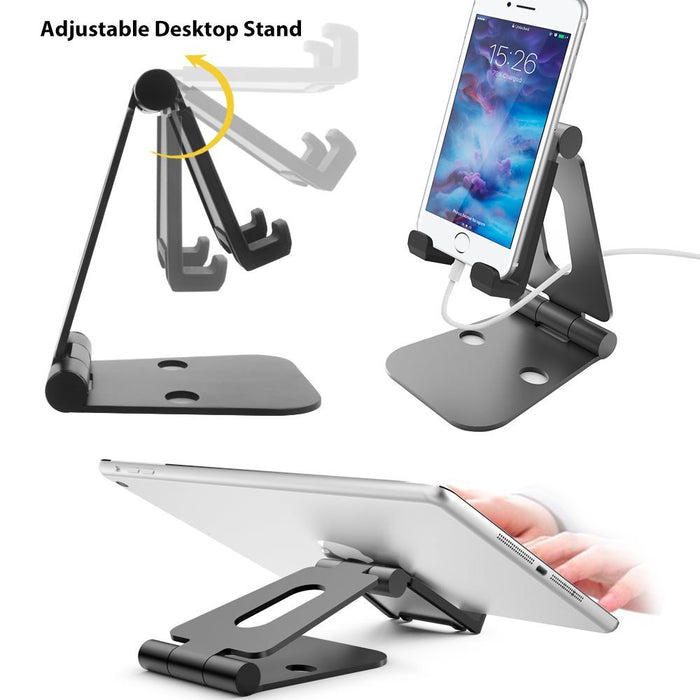 Adjustable Tablet Stand,Universal Portable Foldable Multi Angle Aluminum Stand Mount Holder for Nintendo Switch,Kindle,iPad pro, Galaxy, Nexus,iPhone and Other Tablets,Smartphone (Black)