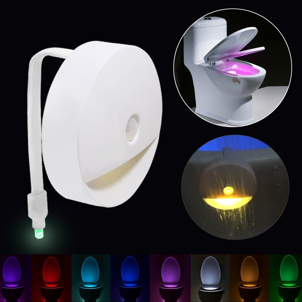 Toilet Lights Motion Activated Sensor LED Night Light with 2 Advanced Led Lights Beads ,Auto-sensing Motion Activated Toilet Seat Light -8 Colors