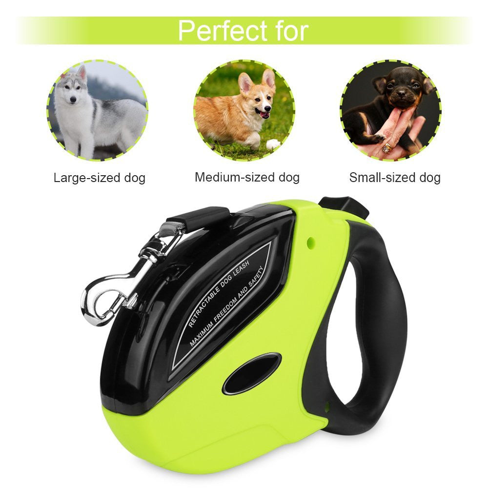 Retractable Dog Leash,16 Ft Dog Walking Leash For Small Medium Large Dogs up to 110 lbs,Heavy Duty No Tangle Pet Lead,One Button Break and Lock,Dog Waste Bags Included