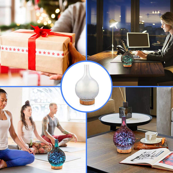 Essential Oil Diffuser 3D Glass Aromatherapy Ultrasonic Humidifier - 7 Color Changing LEDs, Waterless Auto-Off,Timer Setting, BPA Free (100ml )