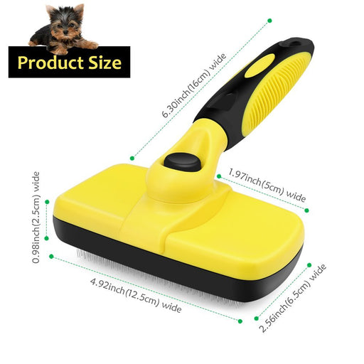 Self Cleaning Slicker Brush - Dog Brush for Grooming - Removes Tangled Knots Undercoat and Loose Hair for Small Medium Large Dog and Cat with Minimal Effort - Easy to Clean