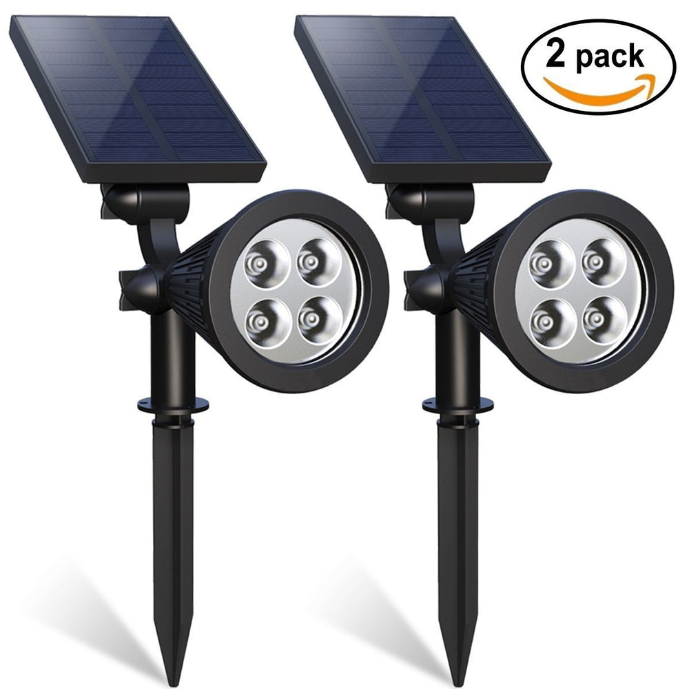 Solar Spotlights, SD 2-in-1 LED Landscape Solar Lights, 180° Adjustable Waterproof Outdoor Security Lighting Landscape Lighting with Auto On/Off and High/Low Mode for Backyard Patio Driveway Lawn