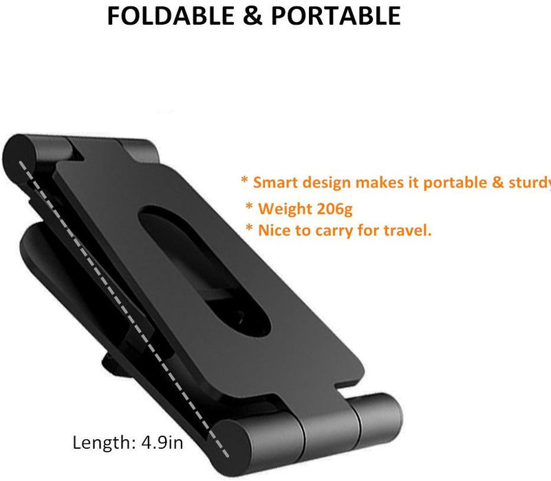 foldable aluminum phone and tablet stand, holder, dock for iPhone, iPad, Samsung, tablet and all smartphone devices - with dual adjustable panels