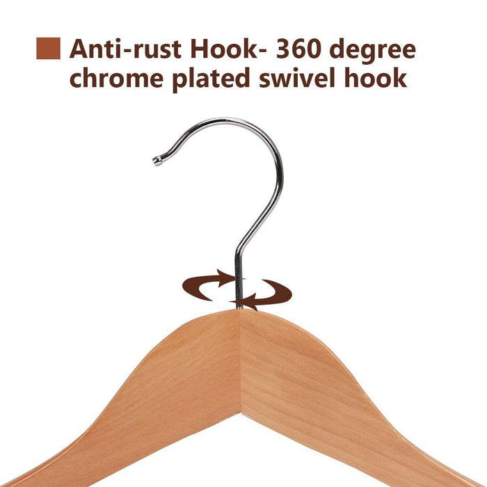 Gugertree Wooden Extra-Wide Shoulder Suit Hangers, Wood Coat Hangers Pant Hangers, Natural Finish, 6-Pack