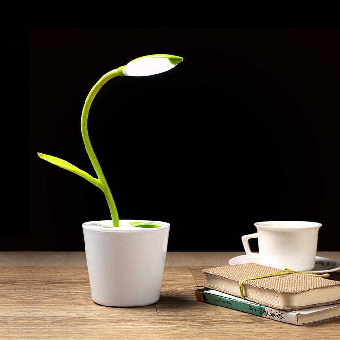 Flexible USB Touch LED Desk Lamp with 3-Level Dimmer and Decor Plant Pencil Holder