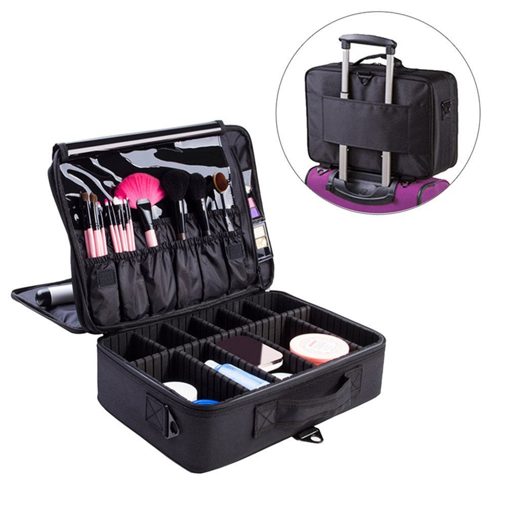 "Makeup Train Case, Cosmetic Organizer 16"" Professional Make Up Artist Storage for Cosmetics, Makeup Brush Set, Jewelry, Toiletry, Travel Accessories with Shoulder Strap (Black)"