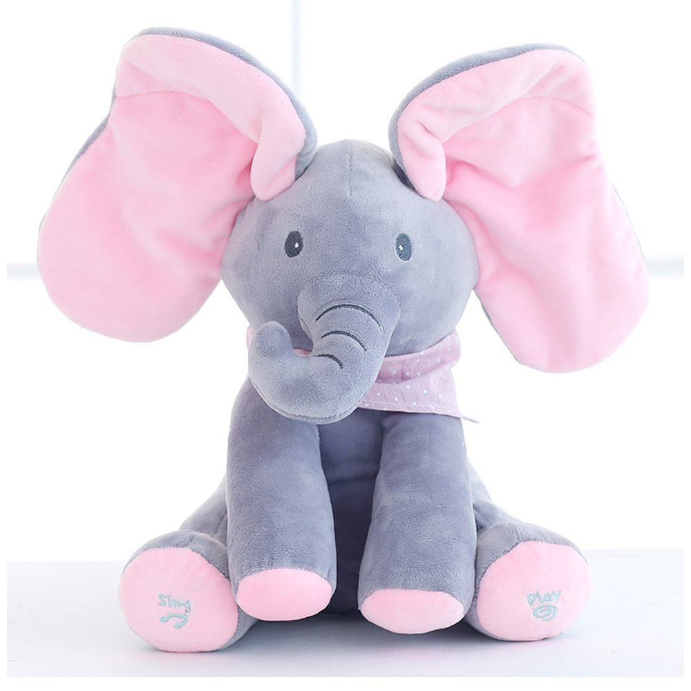 Music Plush Elephant Toy Gifts for Child - Play Hide and Seek Electric Toys Baby Cuddle Doll, Music Animals
