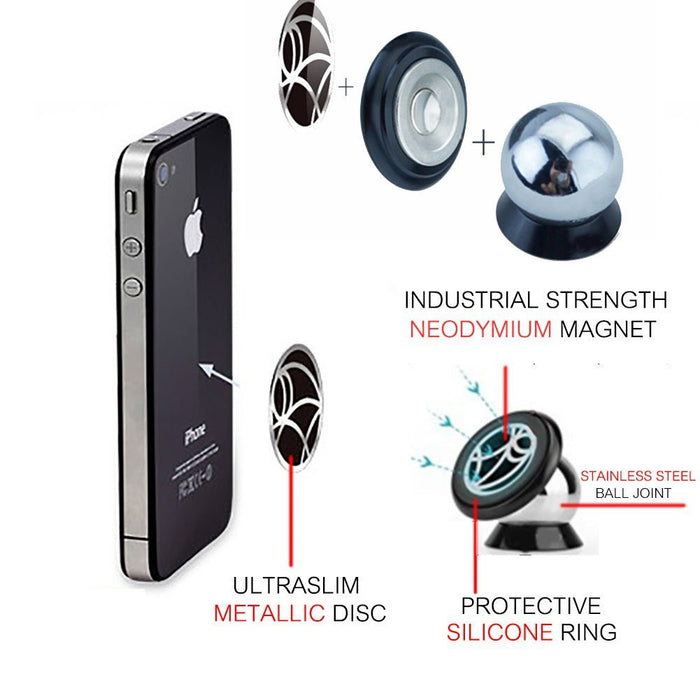 Universal Magnetic Car Mount, Magnetic Cell Phone Holder Car GPS Holder for iPhone 7 6s 6 Plus Nexus 6 and Other Smartphones, Installs on Horizontal Surface