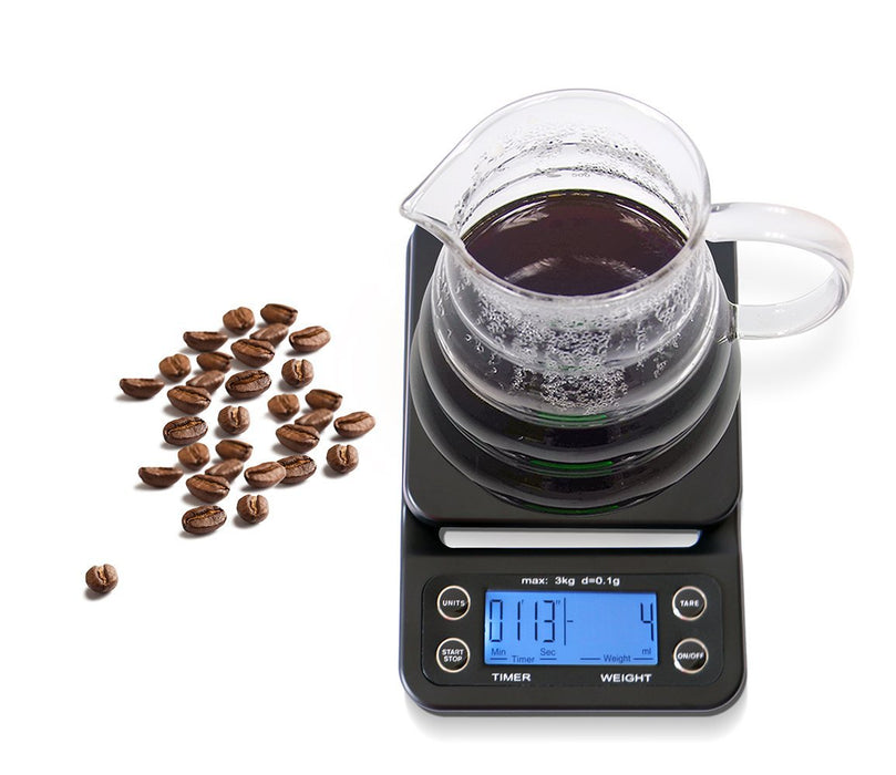 Digital Coffee Scale with Timer and Tare Function 0.1g, Multifunctional Kitchen Scales Food Scales 6.6lb/3kg, LCD W/Blue Backlit,Batteries Included,Black