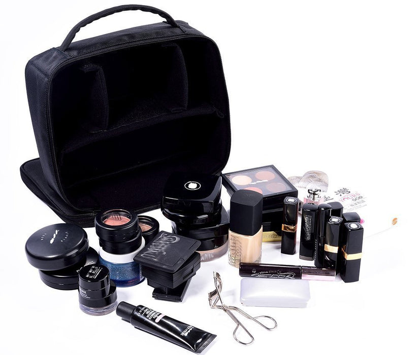 Portable Makeup Train Case, Waterproof Cosmetic Organizer Kit Make Up Artist Storage for Cosmetics, Makeup Brush Set, Jewelry, Toiletry And Travel Accessories