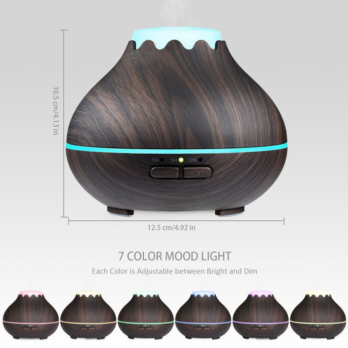 Essential Oil Diffuser, 300ml Wood Grain Aromatherapy Diffuser Ultrasonic Cool Mist Aroma Humidifier with Adjustable Mist Mode, Waterless Auto Shut-Off, 7 Color LED Lights & 4 Timer Settings