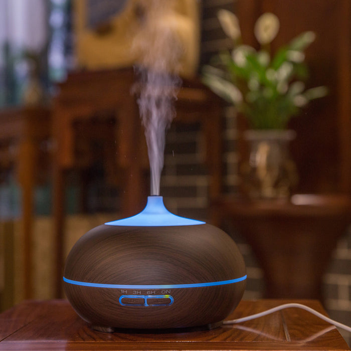 Essential Oils Diffuser Aromatherapy Humidifier 300ml, Whisper Quiet Cool Mist, Auto Shut-Off, Multi-Color Lights Ideal for Use with Pure Essential Oils, Wood-Grain