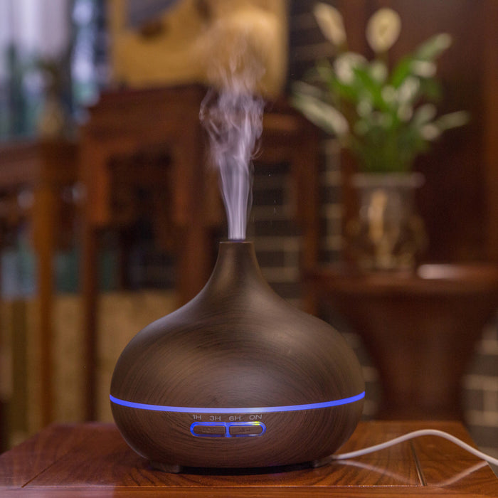 Aromatherapy Essential Oil Diffuser, 300ml Essential Oil Diffuser Aromatherapy Ultrasonic Cool Mist Humidifier Aroma Diffuser for Baby Office Home Bedroom Living Room Yoga Spa (Dark Wood Grain)