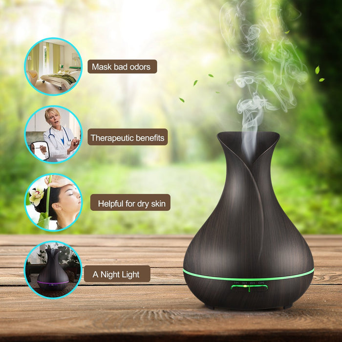 300ml Aromatherapy Essential Oil Diffuser, Ultrasonic Cool Mist Humidifier with Wood Grain Design for Office, Room, Spa (Black)