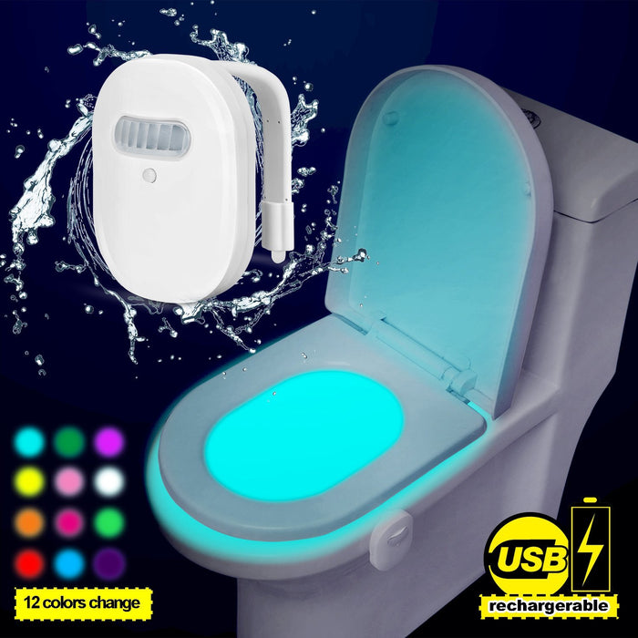 Rechargeable Toilet Light with IP67 Waterproof Design, Toilet Night Light with 12 Color Changes, Motion Activated in Darkness Only