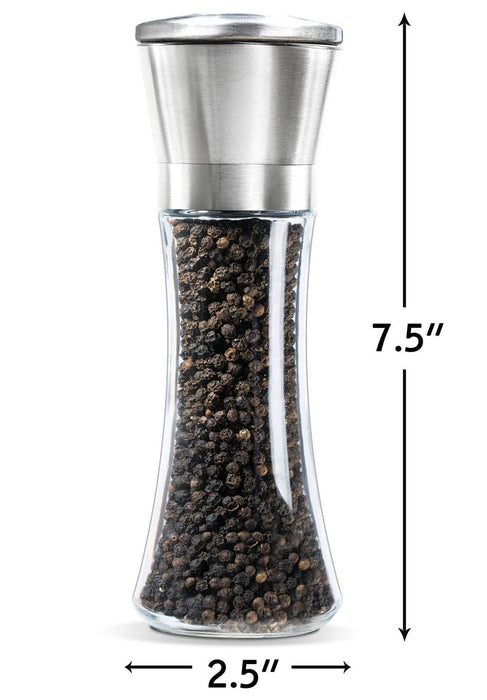 Premium Stainless Steel Salt and Pepper Grinder Set of 2- Brushed Stainless Steel Pepper Mill and Salt Mill, 6 Oz Glass Tall Body, 5 Grade Adjustable Ceramic Rotor- Salt and Pepper Shakers