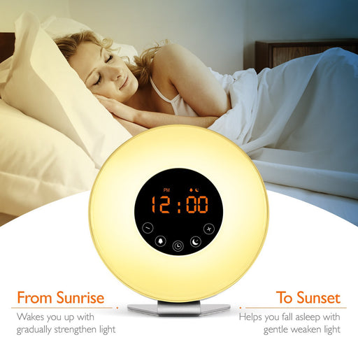 Sunrise Wake Up Light Digital Alarm Clock – [Upgraded] 6 Natural Sounds, FM Radio, Sunrise and Sunset Simulation, Touch Control with Snooze Function, 7 Color Night Light for Bedside and kids