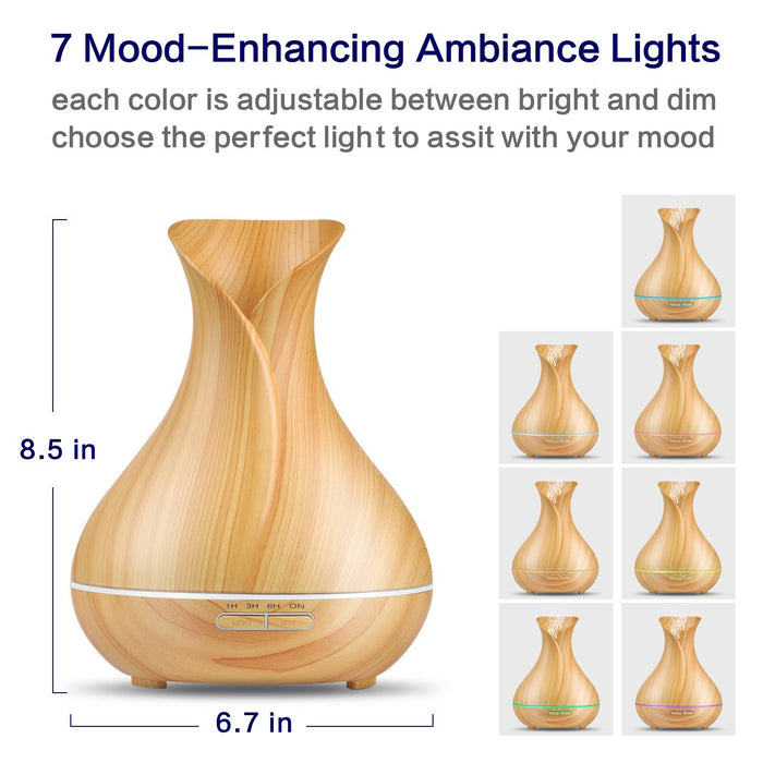 Essential Oil Diffuser, Newest Wood Grain 400ml Ultrasonic Cool Mist Humidifier with 7 Color LED Lights Changing and Waterless Auto Shut-off for Home Office Bedroom Baby Room