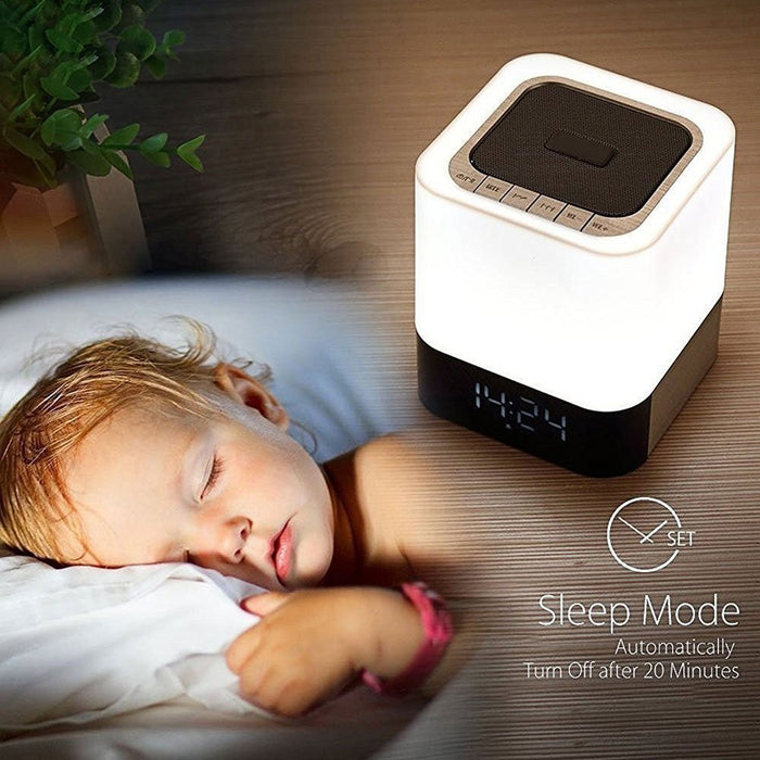 Portable Wireless Bluetooth 4.0 Speaker and LED Light Lamp Alarm Clock LED Table Lamp/Night Light/Bedside Lamp,Smart Touch LED Mood Lamp, MP3 Player, Supported Micro TF SD Card/USB/3.5mm AUX