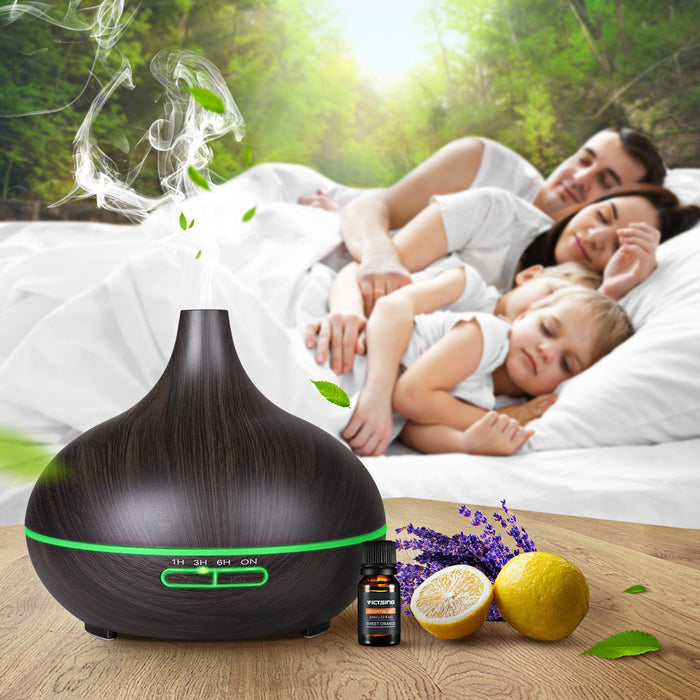 Essential Oil Diffuser 300ml Cool Mist Humidifier Ultrasonic Aroma Diffuser, Waterless Auto Off, Wood Grain, Brightness Adujstable, Christmas, New Year Gift