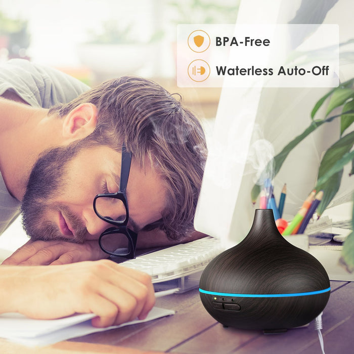150ml Mini Aroma Essential Oil Diffuser, Wood Grain Cool Mist Humidifier for Office Home Study Yoga Spa, 14 Color Lights (Black)