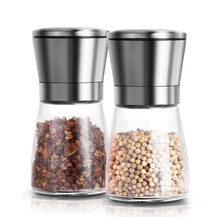 Premium Stainless Steel Salt and Pepper Grinder Set With Stand - Salt and Pepper Shakers with Adjustable Coarseness - Salt Grinder and Pepper Mill Set