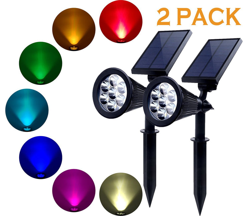 Solar Lights Outdoor - 2 Pack 7 LED Solar Spotlight Bright & Dark Sensing Auto On/Off Solar Garden Light for the Yard Patio Stair Pool - Waterproof Security (Changing Color)