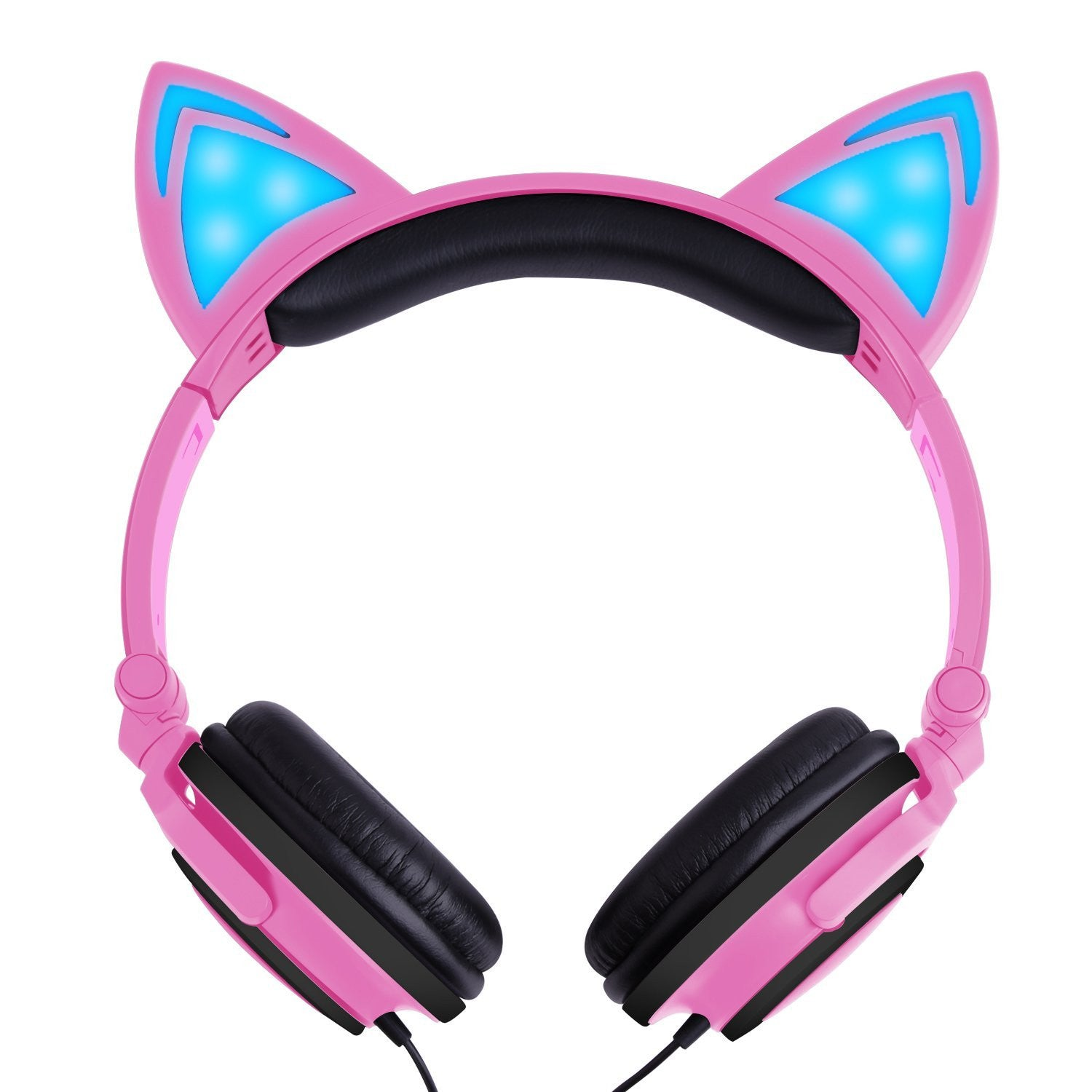 08c70ee228a Wired Cat Ear Kids Headphones,Flashing Glowing Cosplay Fancy Foldable Over  Ear Headsets with Led Light Up / 3.5mm Earphone for Kids,Children,Girls  ,Boys