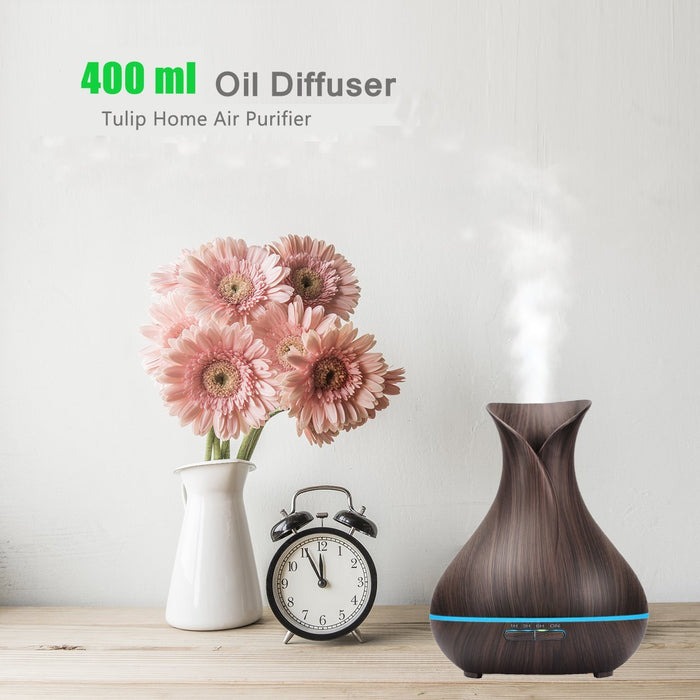 Aromatherapy Diffuser Essential Oil 400ml Ultrsonic Cool Mist Wood Grain Aroma Oil Diffuser Humidifier Air Purifier Ionzier Large Capacity Vase Tulip Essential Oil Diffuser for Home Office