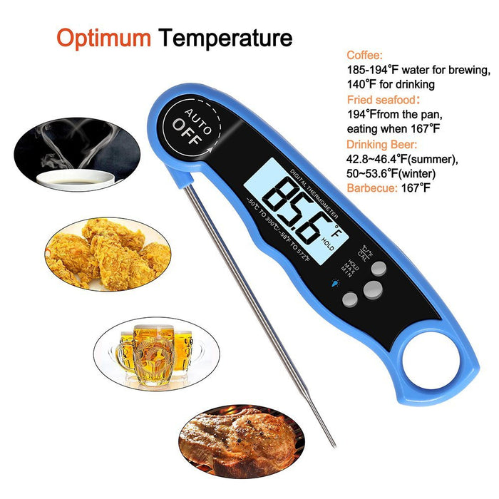 Instant Read Thermometer, Digital Cooking Thermometer with Long Probe & Backlit, Fast Accurate Waterproof Kitchen Meat Thermometer for Food, BBQ, Water, Milk, Baking (Red)