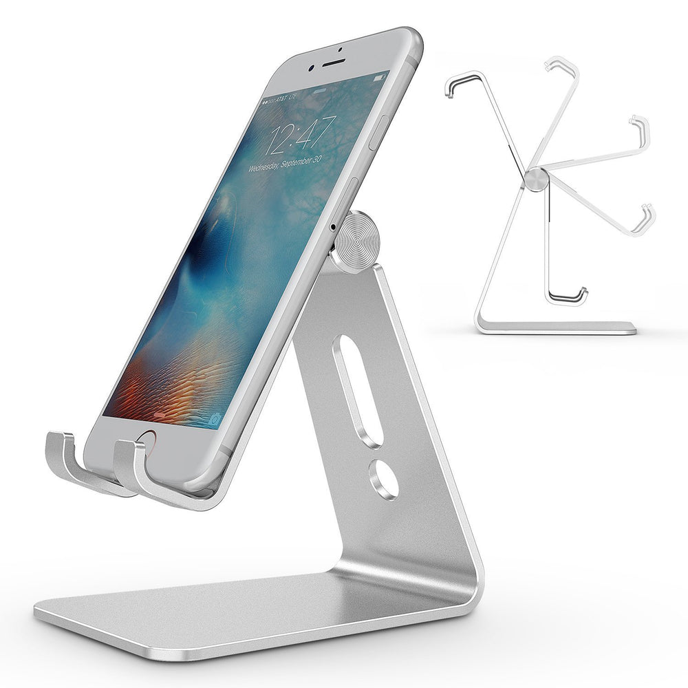Adjustable Cell Phone Stand, Aluminum Desktop Cellphone Stand with Anti-Slip Base and Convenient Charging Port, Fits All Smart Phones, Silver