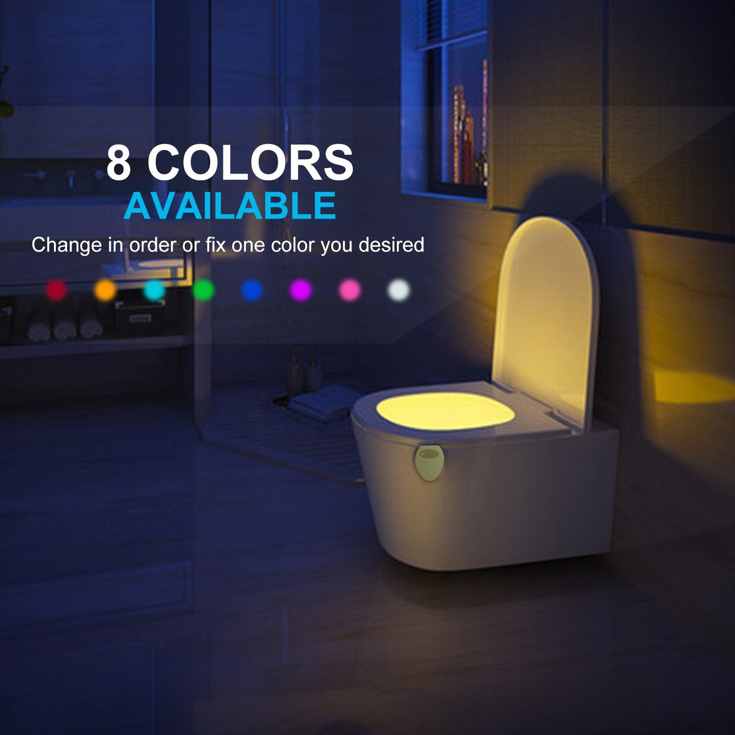 Rechargeable Toilet Night Light with Waterproof Design, LED Toilet Night Light, Toilet Bowl Light, Motion Activated in Darkness Only