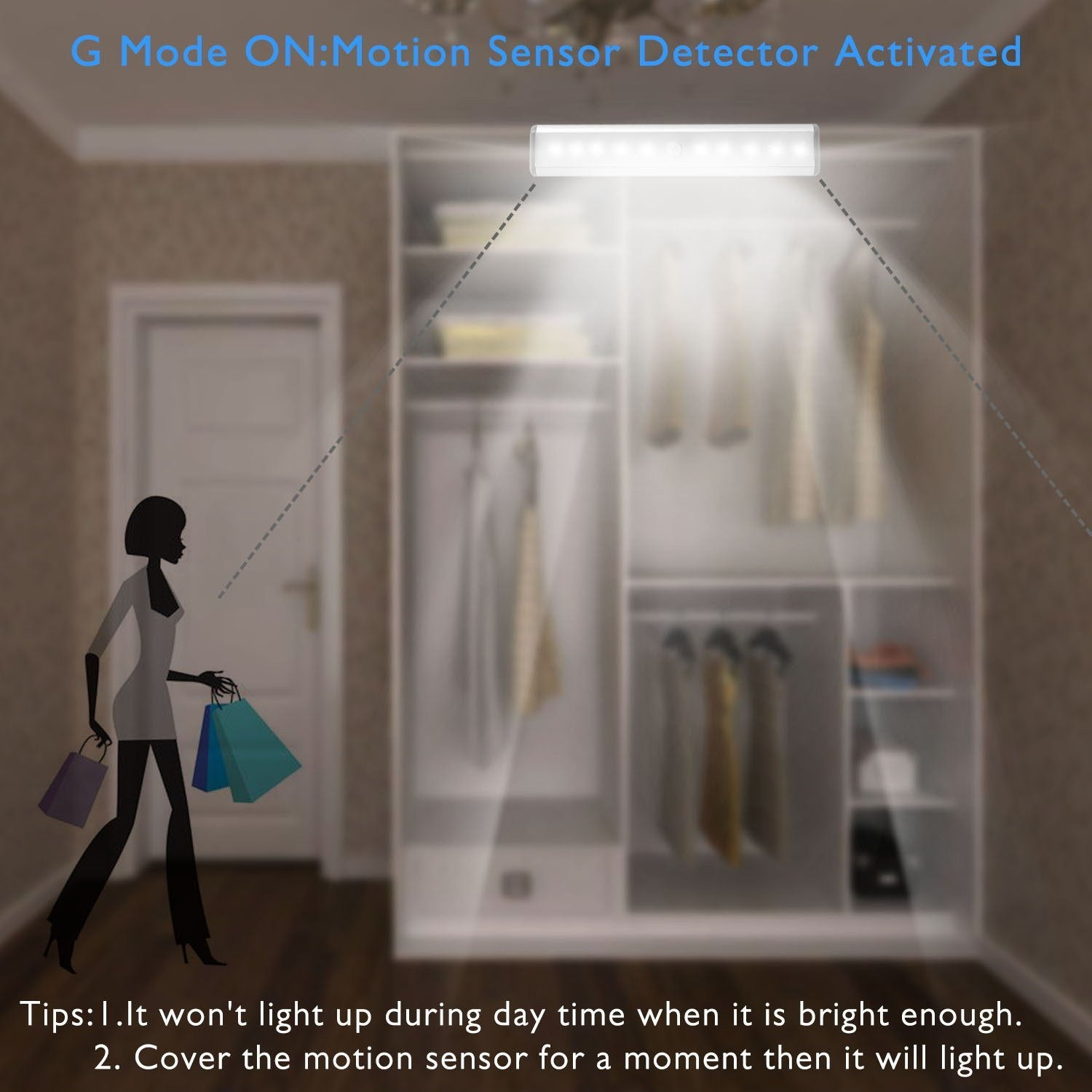 Cordless Silver Auto On//Off.Portable Closet Dusk to Dawn Photocell Moston 3 Pack Upgraded USB Rechargeable 10 LED Magnetic Motion Sensor Night Light Wardrobe Stick-on Anywhere for Cabinet