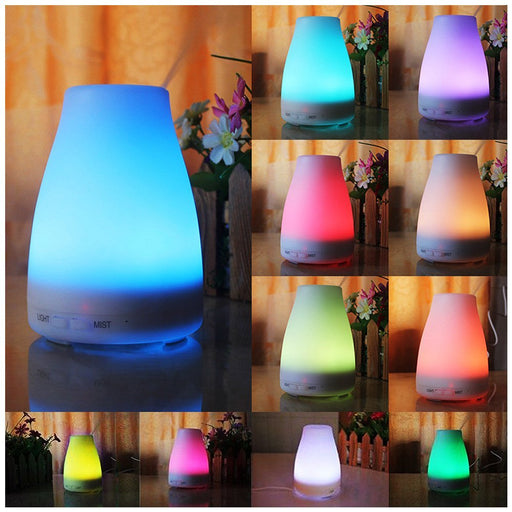 100ml Essential Oil Diffuser, Ultrasonic Aroma Oil Diffuser, Cool Mist Air Humidifier with 7 Color LED Lights Changing & Timer Settings, Waterless Auto Shut-off, Portable for Home and Travel