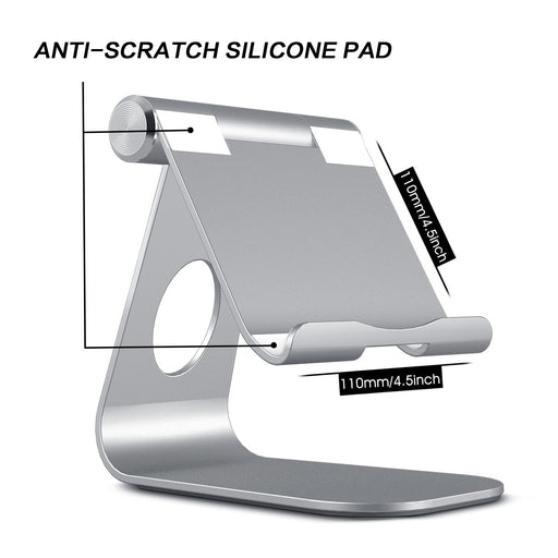 Tablet Stand, Adjustable Multi-Angle Aluminum iPad Stand, with Stable Sticky Base and Convenient Charging Port, Fits All Smart Phones, E-readers and Tablets (Up to 12.9 inch)